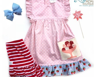 Pink Ice Cream Birthday dress Fourth of July Pink polka dot dress cute toddler girls boutique Ice Cream dress Pink party dress