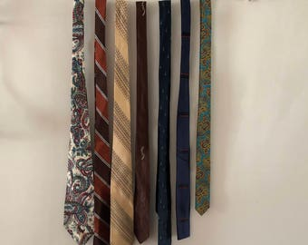 Vintage tie collection browns and blues 1950s 1960s set of 7