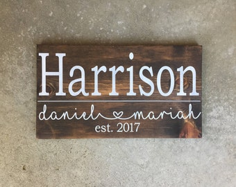 Custom Family Name Sign | Family Sign | Personalized | Wedding Gift | Family Established Sign