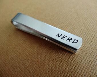 Nerd Tie Bar - Hand stamped Tie Clip - Nerdy Tie Clip
