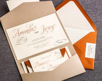 "Copper Rustic Wedding, Fall Rustic Invite Suite, Country Wedding Invitation, Modern Rustic Suite- ""Modern Swirl & Flourish"" PF-NL-v3 SAMPLE"