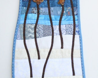 Scrappy Winter Floral Landscape Wall Hanging