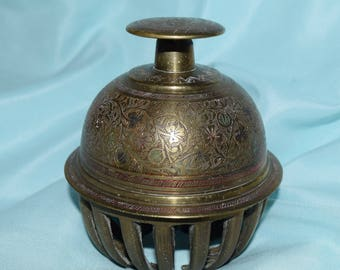 Vintage Large Etched Brass Elephant Claw Bell, Made In India, Home Decor,  Indian