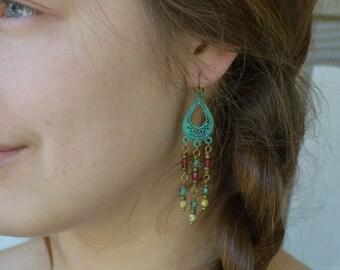 Bohemian Earrings, Verdigris Jewelry, Bohemian Jewelry, Patina Earrings, Chandelier Earrings, Long Beaded Earrings, Czech Glass Earrings