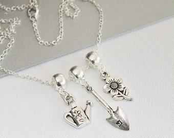 Gardening Charm Necklace - Gardening Pin - Gardening Gift - Gardening ideas - Gift For Her - Multi Charm Necklace - Vintage Jewelry - Zamsoe