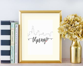 Chicago Skyline | Skyline Series | LetteringByLyss | Printable | PDF Digital Download