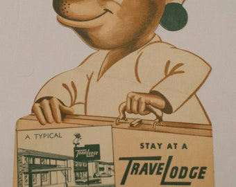 Oversized 1959 Travel Lodge Sleepy The Bear Postcard