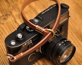 Thick Brown Leather Camera Wrist Strap for the Minimalist Shooter with Linen Stitching.