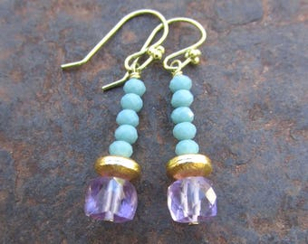 Handmade Amethyst Earrings with Green Chalcedony - Faceted Natural Gemstones Beaded Jewelry