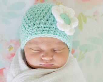 hand crocheted hat with removable flower
