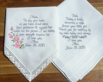 Wedding Gifts, Embroidered Wedding Hankerchief Personalized Mom and Dad Set of 2 Wedding Gift Embroidered Handkerchiefs by Canyon Embroidery