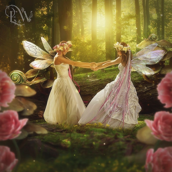 fantasy fairie friends in forest art print