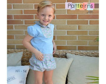 Blouse with contrast Bib  & Bloomers Set 2 PDF Sewing PATTERNs + YOUTUBE Tutorial for baby babies toddler boys **size 6 months-6 years**