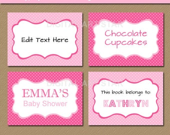 EDITABLE Pink Buffet Cards, Printable Labels, Tent Cards, Pink Candy Buffet Labels, Food Labels - INSTANT DOWNLOAD Girl Baby Shower Labels