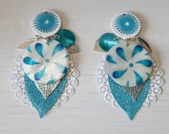 Unique, turquoise, white and Silver earrings