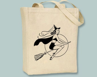 Pretty Retro Halloween Witch Illustration transferred onto Canvas Tote -- Selection of  sizes available