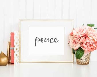 Peace Printable Art | Wall Art Print | PeacePrintable | Motivational Print | Gold | Printable Wall Art | Inspirational Quote Art | 8 x 10