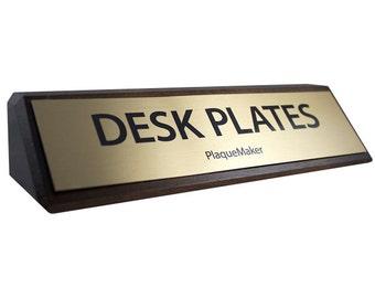 "Desk Name Plates - Walnut Wood 8"" x 2"""
