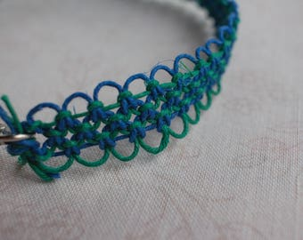 16 inch green and blue hemp necklace