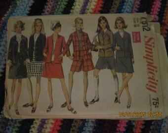 Vintage SIMPLICITY Pattern #7812...sz 16...Jacket,Skirt,Mini Pant Skirt   ...1968... #102...