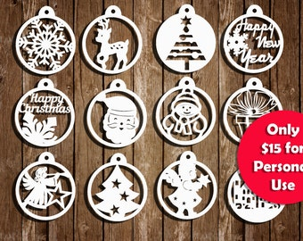 Christmas Papercut Templates, Set of 12, Christmas Decoration, PDF, SVG cutting file, Commercial Use, PT-011