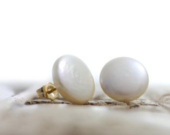 Exquisite Button Pearl Earring Studs - White Freshwater Coin Pearl Earrings - Free Shipping