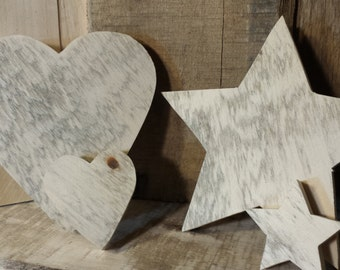 Unfinished Reclaimed Wood Shapes, Wood Hearts, Wood Stars, Reclaimed Wood Heart, Reclaimed Wood Star, Unfinished Wood