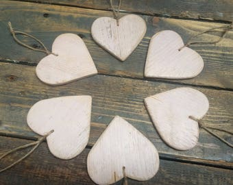Pink Shabby Chic Heart Ornaments, Set of 6 | Rustic Wooden Hearts | Country, Swedish, Woodland Decor
