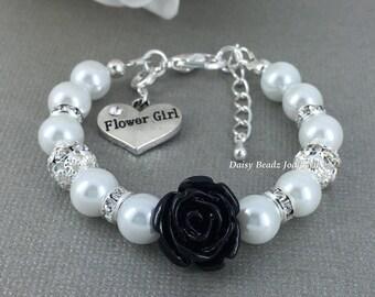 Black Flower Girl Bracelet Flower Girl Jewelry Flower Girl Gift for Her Pearl Bracelet Charm Bracelet Girl's Jewelry Wedding Jewelry FG101
