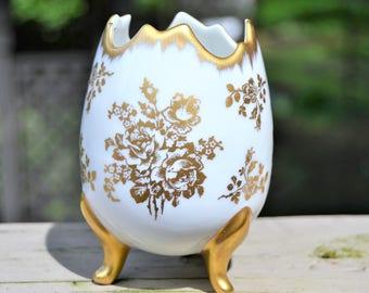 LIMOGES PORCELAIN EGG Vase Gold Gilded Floral Egg from Limoges France Handpainted Porcelain Pedestal Vase
