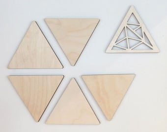 Triangles - Wood Wall Art - Home Decor - Decorative Accents - 10-piece Set - Scandinavian Style - MIXO Collection