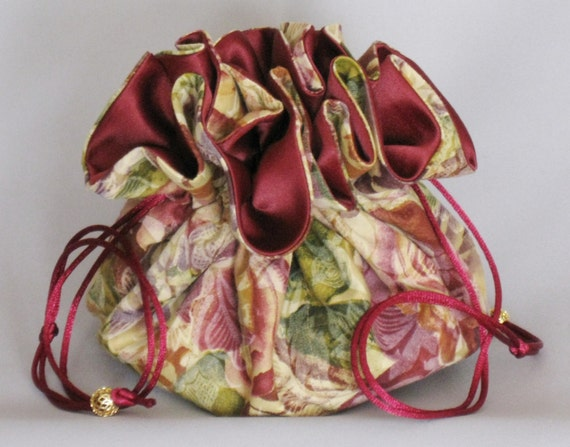 Jewelry Travel Tote---Drawstring Organizer Pouch---Burgundy  Rose Design---Large Size