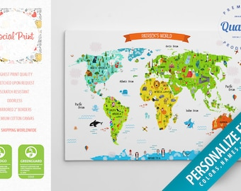 World map for kids etsy kids world map canvas print with landmarks and ikea animals free shipping world map gumiabroncs Choice Image