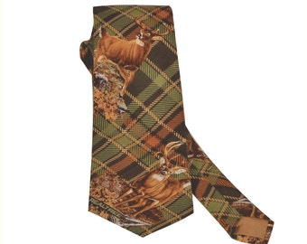 Brown plaid cotton tie with trophy bucks.  Realtree plaid necktie