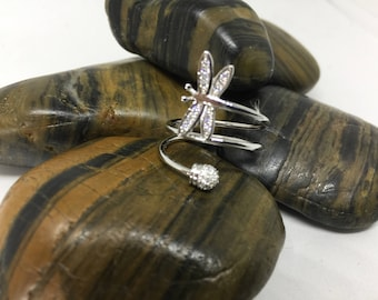 Stainless Steel Dragon Fly Ring with Zirconia Chips