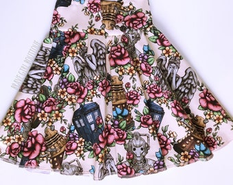 Doctor Who Inspired Custom Circle Skirt   High Quality Cotton Lycra   READY TO SHIP!