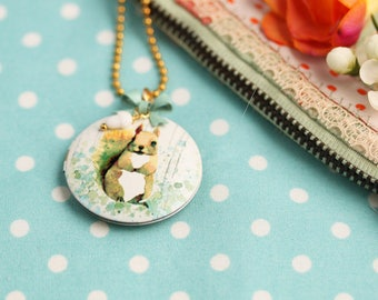 Necklace chain Squirrel Bow heart pastel