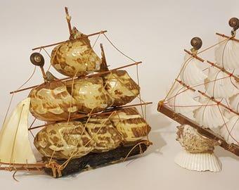 Handmade shell sailboat; beach decor nautical decor seashell art seashell boat vintage seashell art retro beach house decor cottage decor