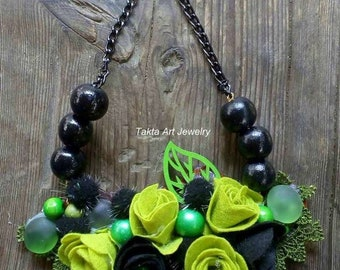 Necklace flower, rosses, handmade, unusual, unique, gift, ester gift
