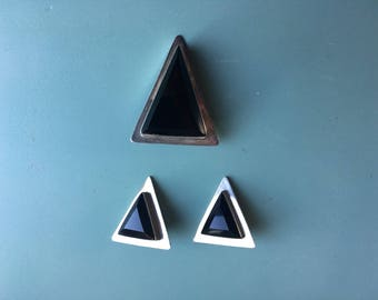 Vintage Onyx and Sterling Silver Triangle Earrings and Broach Pin Set, Mexico