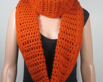 Infinity Scarf ,  Crocheted Scarf , Womens  Winter Scarf , Terracotta ,  Ready To Ship
