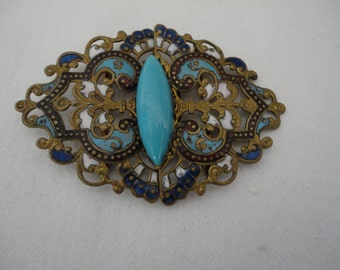 Vintage/Antique Champleve Enamel and Turquoise Lozenge Gem Two Part Buckle - Pierced Goldtone with Turquoise, Red, Blue and White Enamel