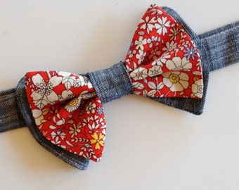 Toddler Bow Tie, SHIPS IMMEDIATELY, chambray toddler tie, chambray kids bow tie, liberty of london kids bow tie, red baby bow tie, floral
