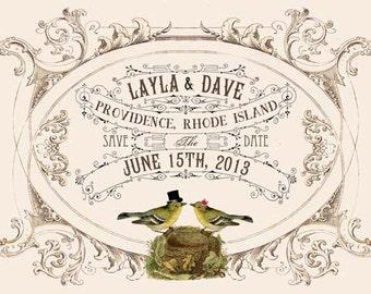 Printable DIY Wedding Save the Date Cards - Digital Download - Customized Vintage Victorian Love Birds Wedding