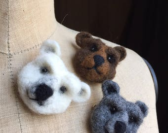 Needle felted bear pin brooch badge - Polar Bear, Grizzly Bear & Grey Bear