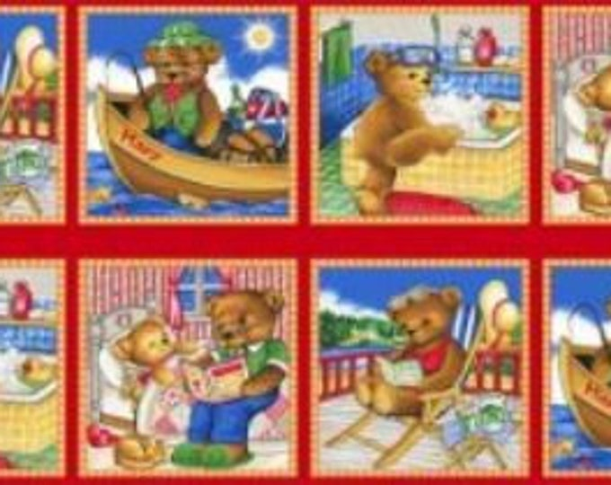 Children's Cotton  Fabric Panel, Thomsen Bears by Stof.dk 23 x 43 inches long