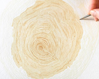 TREE RINGS Natural Botanical Watercolor (Art Print) Wood Woodsy Wall Decor