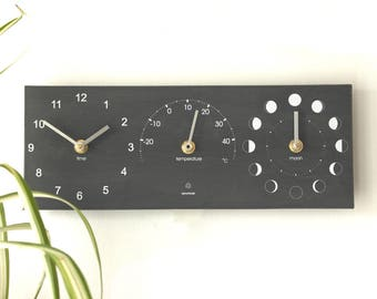 Moon Phase, Outdoor Wall Clock and Thermometer made from recycled plastic bottles