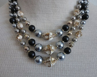 VINTAGE 1960s gray black and gold three strand BEADED NECKLACE