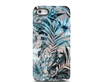 Floral iPhone 6s case, iPhone 8 case, iPhone 5s case, iPhone 6 case, iPhone 7 case, iPhone 7 Plus case, iPhone 7 tough case - Tropical